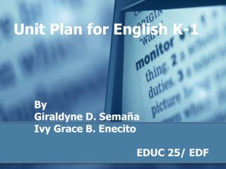 Unit Plan for English K-1