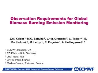 Observation Requirements for Global Biomass Burning Emission Monitoring