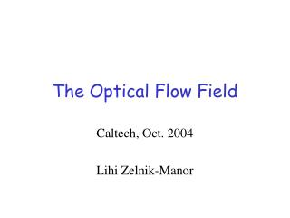 The Optical Flow Field