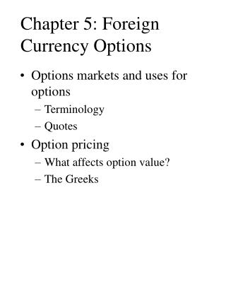 Chapter 5: Foreign Currency Options