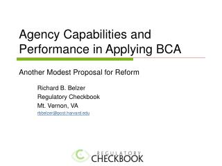 Agency Capabilities and Performance in Applying BCA