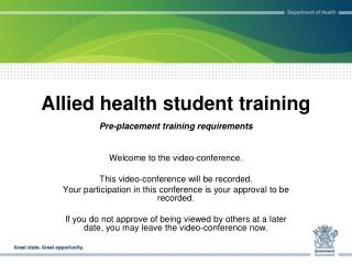 Allied health student training
