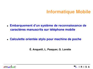 Informatique Mobile