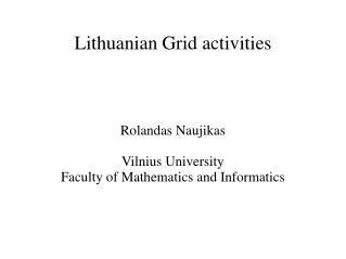 Lithuanian Grid activities