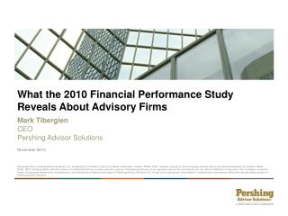 What the 2010 Financial Performance Study Reveals About Advisory Firms