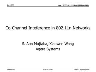 Co-Channel Inteference in 802.11n Networks