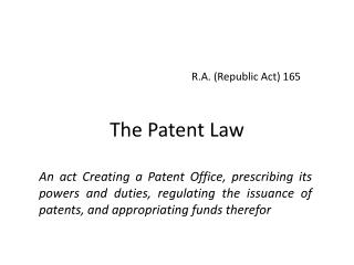 The Patent Law