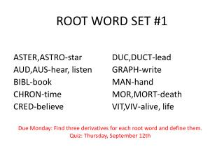 ROOT WORD SET #1
