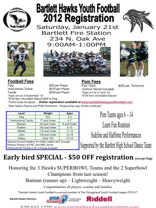 Bartlett Hawks Youth Football