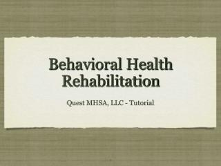 Behavioral Health Rehabilitation