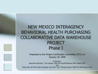 NEW MEXICO INTERAGENCY BEHAVIORAL HEALTH PURCHASING COLLABORATIVE DATA WAREHOUSE PROJECT Phase I