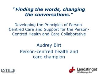 Audrey Birt Person-centred health and care champion