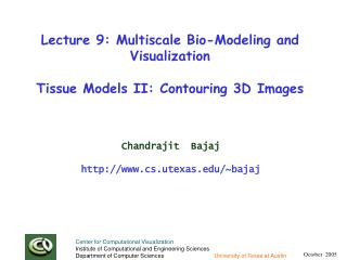 Lecture 9: Multiscale Bio-Modeling and Visualization Tissue Models II: Contouring 3D Images