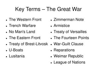 Key Terms – The Great War