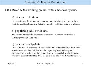 1.(5)	 Describe the working process with a database system. 		a) database definition
