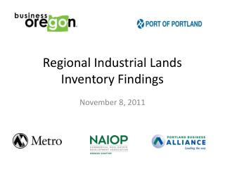 Regional Industrial Lands Inventory Findings