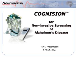 COGNISION ™ for Non-invasive Screening of Alzheimer's Disease