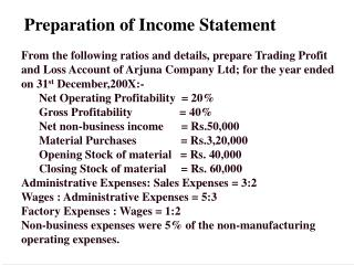 Preparation of Income Statement