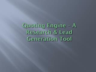 Quoting Engine – A Research & Lead Generation   WordPress Qu