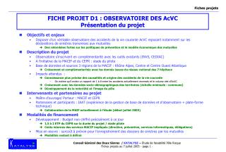 FICHE PROJET D1 : OBSERVATOIRE DES AcVC  Présentation du projet