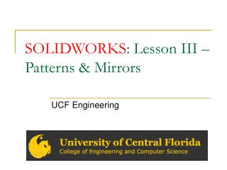 SOLIDWORKS : Lesson III – Patterns & Mirrors