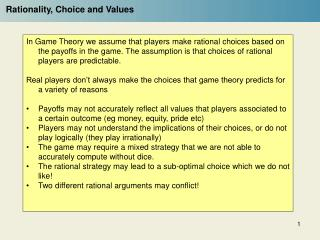 Rationality, Choice and Values