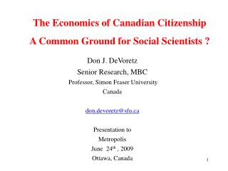 The Economics of Canadian Citizenship A Common Ground for Social Scientists  ?