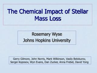 The Chemical Impact of Stellar Mass Loss