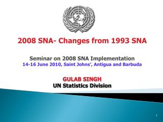 Seminar on 2008 SNA Implementation 14-16 June 2010, Saint Johns', Antigua and Barbuda GULAB SINGH