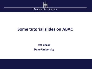 Some tutorial slides on ABAC