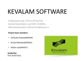 KEVALAM SOFTWARE