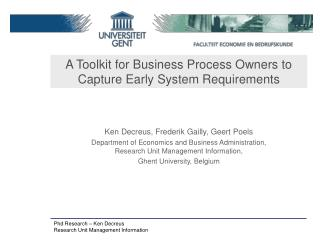 A Toolkit for Business Process Owners to Capture Early System Requirements