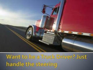 Want to be a Truck Driver? Just handle the steering