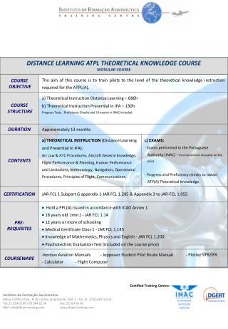 DISTANCE LEARNING ATPL THEORETICAL KNOWLEDGE COURSE MODULAR COURSE