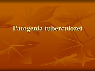 Patogenia tuberculozei