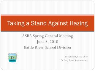 Taking a Stand Against Hazing