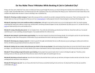 Do You Make These 9 Mistakes While Booking A Cab In Cathedra