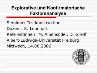 Explorative und Konfirmatorische Faktorenanalyse