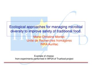 Ecological approaches for managing microbial diversity to improve safety of traditional food.