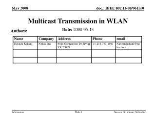 Multicast Transmission in WLAN