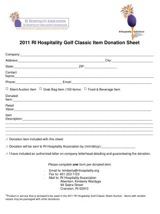 2011 RI Hospitality Golf Classic Item Donation Sheet