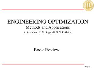 ENGINEERING OPTIMIZATION Methods and Applications
