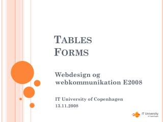 Tables Forms