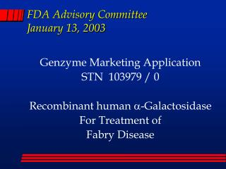 FDA Advisory Committee January 13, 2003