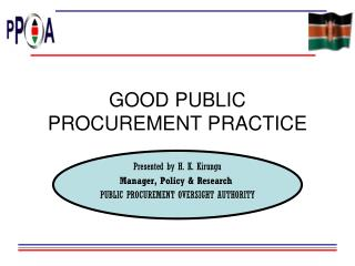 GOOD PUBLIC PROCUREMENT PRACTICE