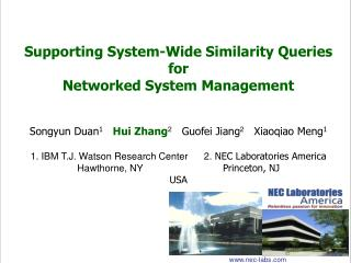 Supporting System-Wide Similarity Queries for Networked System Management