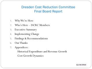 Dresden Cost Reduction Committee Final Board Report