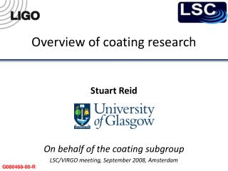 Overview of coating research