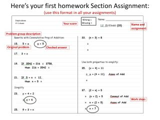 Here's your first homework Section Assignment: (use this format in all  your  assignments)