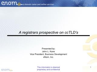 A registrars prospective on ccTLD's